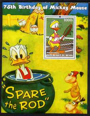 Benin 2004 75th Birthday of Mickey Mouse - Playing Tennis perf m/sheet unmounted mint
