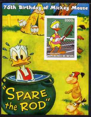 Benin 2004 75th Birthday of Mickey Mouse - Playing Tennis imperf m/sheet unmounted mint