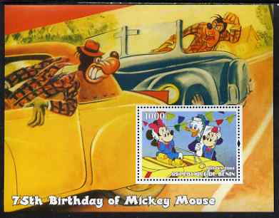 Benin 2004 75th Birthday of Mickey Mouse - Minnie in a Car perf m/sheet unmounted mint