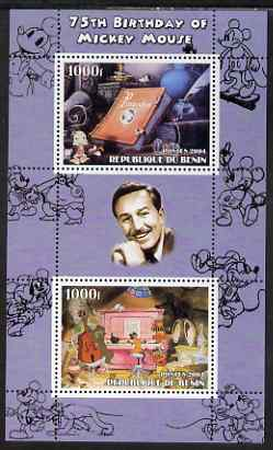 Benin 2004 75th Birthday of Mickey Mouse - Pinocchio & Jazz Band perf sheetlet containing 2 values plus label, unmounted mint