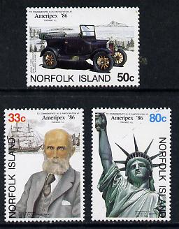 Norfolk Island 1986 'Ameripex' Stamp Exhibition (Car & Statue of Liberty) set of 3 unmounted mint, SG 385-87