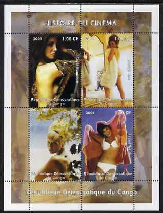 Congo 2001 History of Cinema - Actresses perf sheetlet containing 4 values unmounted mint