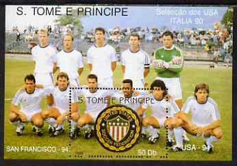 St Thomas & Prince Islands 1990 Football World Cup 50Db perf m/sheet (USA Team & Emblem) unmounted mint. Note this item is privately produced and is offered purely on its thematic appeal, stamps on football, stamps on sport