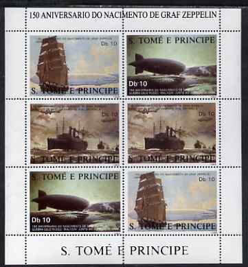 St Thomas & Prince Islands 1988 150th Anniversary of Zeppelin perf sheetlet #1 containing 3 horizontal values each x 2, unmounted mint. Note this item is privately produced and is offered purely on its thematic appeal