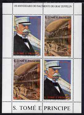 St Thomas & Prince Islands 1988 150th Anniversary of Zeppelin perf sheetlet #2 containing 2 vertical values each x 2, unmounted mint