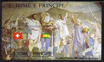St Thomas & Prince Islands 1990 700th Anniversary of Swiss Confederation perf m/sheet #1 unmounted mint