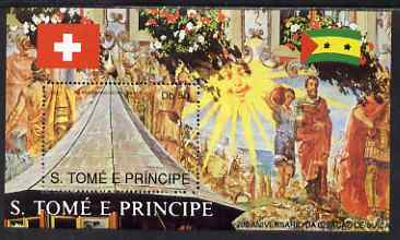 St Thomas & Prince Islands 1990 700th Anniversary of Swiss Confederation perf m/sheet #2 unmounted mint