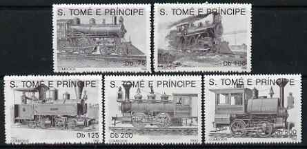 St Thomas & Prince Islands 1992 Steam Locos perf set of 5 values unmounted mint. Note this item is privately produced and is offered purely on its thematic appeal