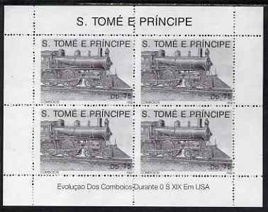 St Thomas & Prince Islands 1992 Steam Locos perf sheetlet containing 4 x 75 Db values unmounted mint