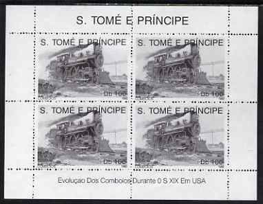 St Thomas & Prince Islands 1992 Steam Locos perf sheetlet containing 4 x 100 Db values unmounted mint. Note this item is privately produced and is offered purely on its thematic appeal