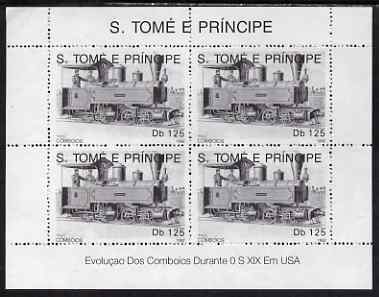 St Thomas & Prince Islands 1992 Steam Locos perf sheetlet containing 4 x 125 Db values unmounted mint. Note this item is privately produced and is offered purely on its thematic appeal