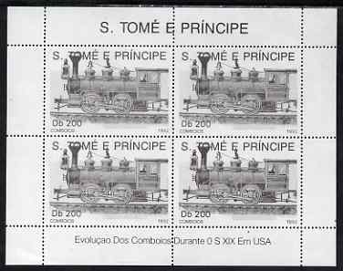 St Thomas & Prince Islands 1992 Steam Locos perf sheetlet containing 4 x 200 Db values unmounted mint