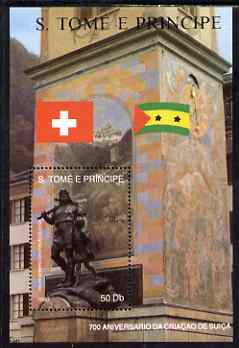 St Thomas & Prince Islands 1990 700th Anniversary of Swiss Confederation perf m/sheet #3 (Statue of William Tell) unmounted mint