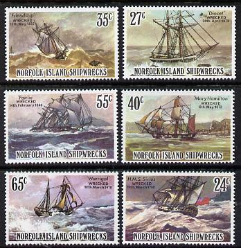 Norfolk Island 1982 Shipwrecks set of 6 unmounted mint, SG 287-92, stamps on ships    shipwrecks    disaster    rescue