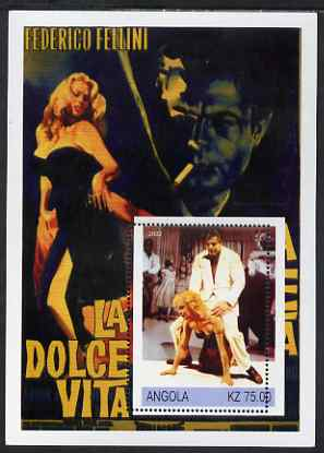 Angola 2002 History of the Cinema #06 (Fellini's La Dolce Vita) perf m/sheet with fine 4mm shift of perforations, unmounted mint. Note this item is privately produced and is offered purely on its thematic appeal