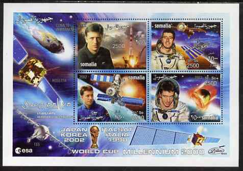 Somalia 2002 Space - Roberto Vittori perf sheetlet containing 4 values, unmounted mint. Note this item is privately produced and is offered purely on its thematic appeal