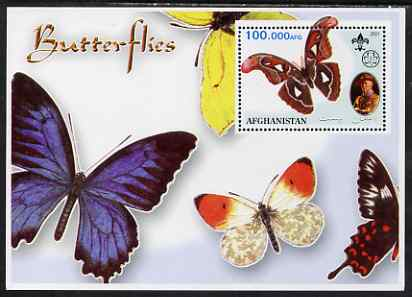 Afghanistan 2001 Butterflies #02 perf s/sheet (also showing Baden Powell and Scout & Guide Logos) unmounted mint