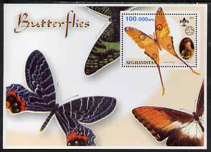 Afghanistan 2001 Butterflies #03 perf s/sheet (also showing Baden Powell and Scout & Guide Logos) unmounted mint. Note this item is privately produced and is offered pure...