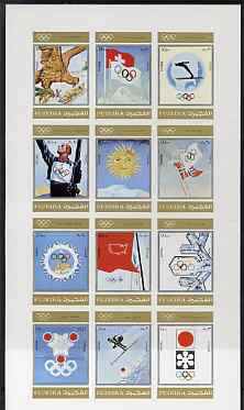Fujeira 1972 Winter Olympics since 1924 imperf set of 12 unmounted mint, Mi 903-14B