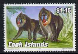 Cook Islands 1992 Endangered Species - Mandrill $1.15 perf unmounted mint, SG 1297, stamps on animals, stamps on  wwf , stamps on mandrill, stamps on apes