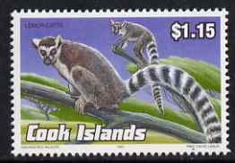 Cook Islands 1992 Endangered Species - Ring-Tailed Lemur $1.15 perf unmounted mint, SG 1301