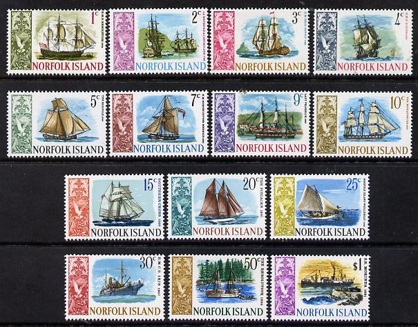 Norfolk Island 1967 Ships definitive complete set of 14 unmounted mint, SG 77-90