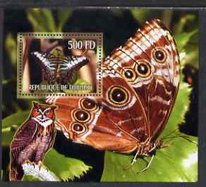 Djibouti 2006 Owl & Butterfly #2 perf m/sheet unmounted mint. Note this item is privately produced and is offered purely on its thematic appeal