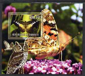Djibouti 2006 Owl & Butterfly #4 perf m/sheet unmounted mint