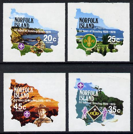 Norfolk Island 1978 Scouts 50th Anniversary self-adhesive set of 4 in shape of Map unmounted mint, SG 209-12*