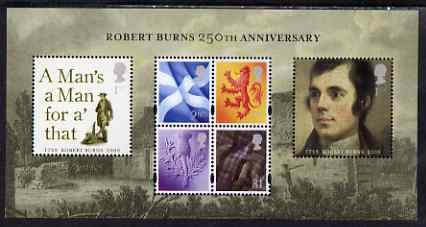 Great Britain 2009 Robert Burns 250th Anniversary perf m/sheet unmounted mint