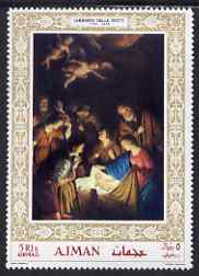 Ajman 1968 Christmas (Adoration by Notti) gold border unmounted mint as Mi 353A, stamps on arts    christmas     religion