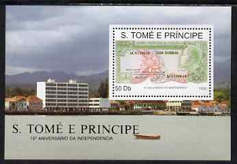 St Thomas & Prince Islands 1990 15th Anniversary of independence - Banknote perf m/sheet  unmounted mint