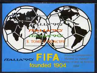 St Thomas & Prince Islands 1990 Football World Cup 50Db perf m/sheet (Football Map of the World) unmounted mint