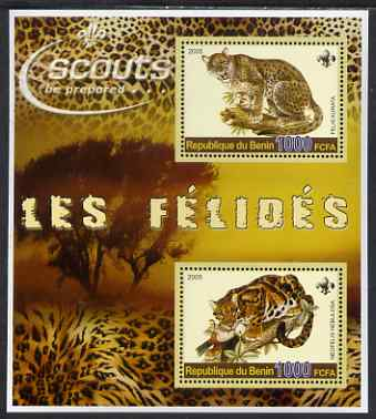 Benin 2005 Big Cats perf sheetlet containing 2 values, each with Scouts logo unmounted mint