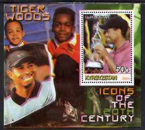 Kyrgyzstan 2001 Icons of the 20th Century - Tiger Woods perf s/sheet unmounted mint, stamps on personalities, stamps on sport, stamps on golf, stamps on
