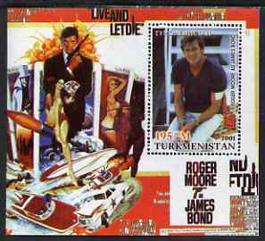 Turkmenistan 2001 Icons of the 20th Century - James Bond perf s/sheet featuring Roger Moore unmounted mint