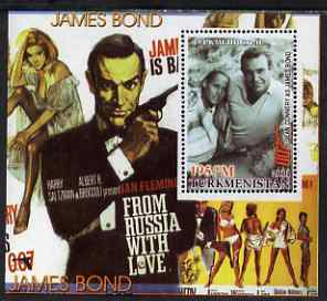 Turkmenistan 2001 Icons of the 20th Century - James Bond perf s/sheet featuring Sean Connery in From Russia With Love unmounted mint