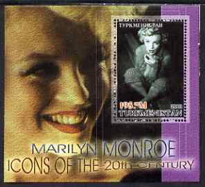 Turkmenistan 2001 Icons of the 20th Century - Marilyn Monroe perf s/sheet #2 unmounted mint. Note this item is privately produced and is offered purely on its thematic appeal