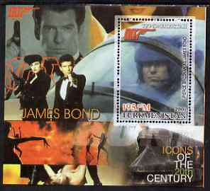 Turkmenistan 2001 Icons of the 20th Century - James Bond perf s/sheet featuring Pierce Brosnan unmounted mint