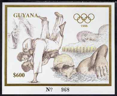 Guyana 1996 Atlanta Olympic Games imperf deluxe $600 sheet (inscriptions in gold) showing Judo & Swimming, unmounted mint Mi BL 322
