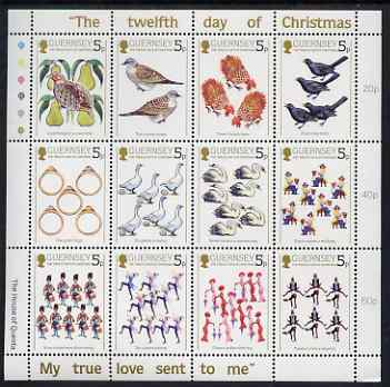 Guernsey 1984 Christmas - The Twelve Days of Christmas perf sheetlet containing set of 12 values unmounted mint, SG 316-27