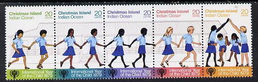 Christmas Island 1979 Int Year of the Child se-tenant strip of 5 unmounted mint, SG 108a