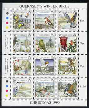 Guernsey 1990 Christmas - Winter Birds perf sheetlet containing set of 12 values unmounted mint, SG 505-16