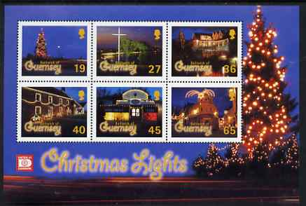 Guernsey 2001 Christmas - Festive Lights perf sheetlet containing set of 6 values unmounted mint, SG 928-33