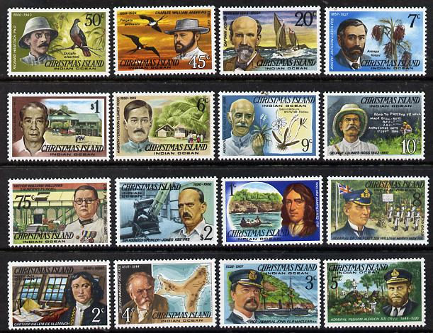 Christmas Island 1977 Famous Visitors definitive set 16 values complete unmounted mint, SG 67-82