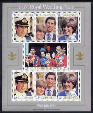 Guernsey 1981 Royal Wedding perf sheetlet containing set of 7 values unmounted mint, SG MS 239