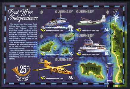 Guernsey 1994 25th Anniversary of Postal Administration perf sheetlet containing set of 5 values unmounted mint, SG MS650