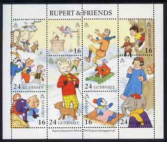 Guernsey 1993 Rupert & Friends perf sheetlet containing set of 8 values unmounted mint, SG MS 606
