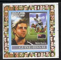 Guinea - Bissau 2007 Rugby - Nick Evans individual imperf deluxe sheet unmounted mint. Note this item is privately produced and is offered purely on its thematic appeal