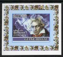 Guinea - Bissau 2008 Ludwig van Beethoven 500f individual imperf deluxe sheet unmounted mint. Note this item is privately produced and is offered purely on its thematic appeal